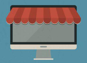 Computerscherm verkleed als een webwinkel