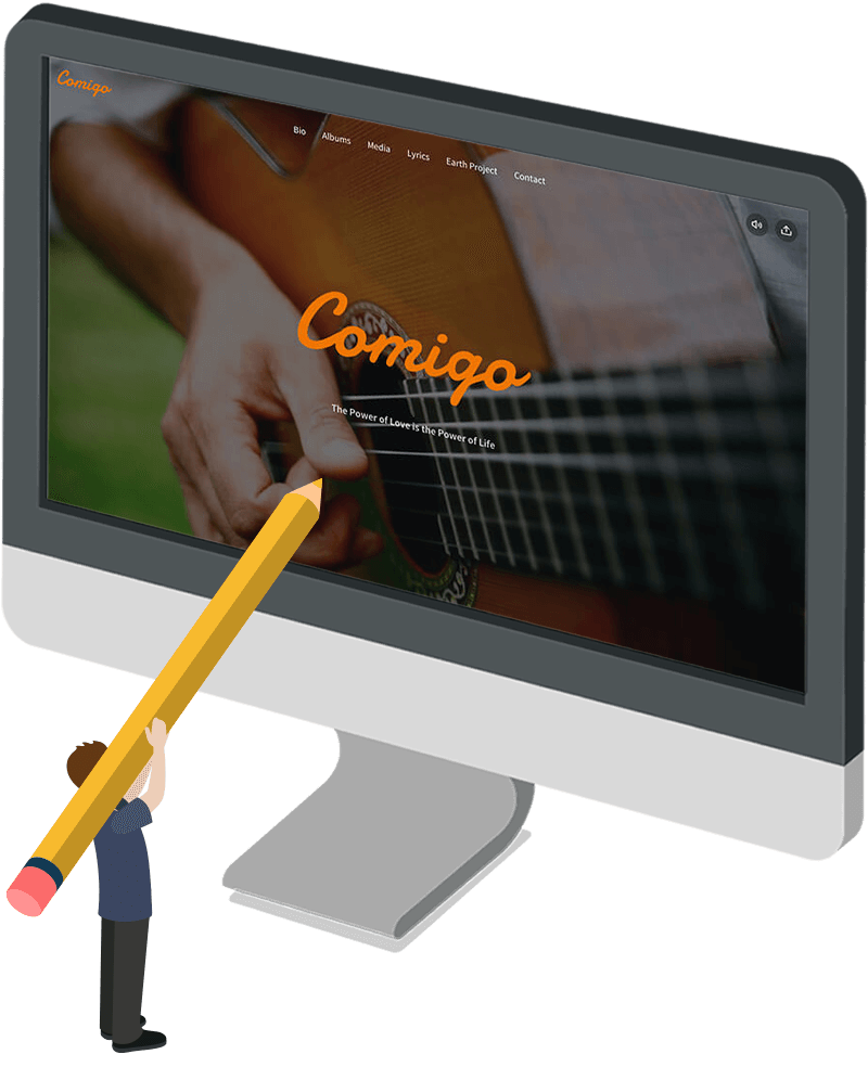 Mockup website voor singer-songwriter Comigo