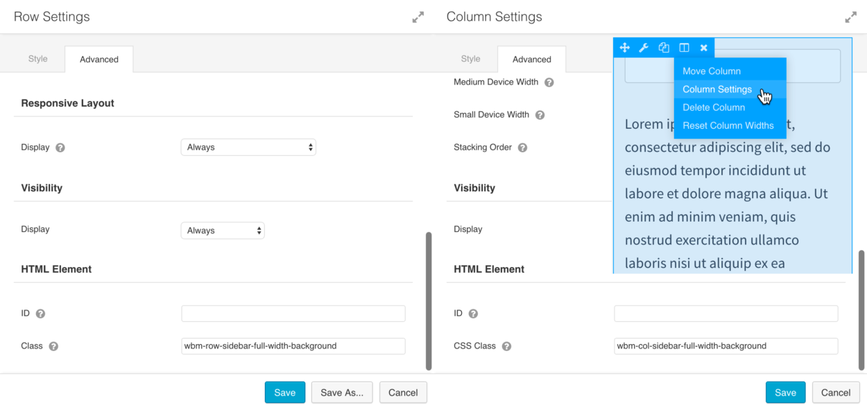 Where to enter the Beaver Builder Column settings and add in custom CSS class selectors to the row and column element