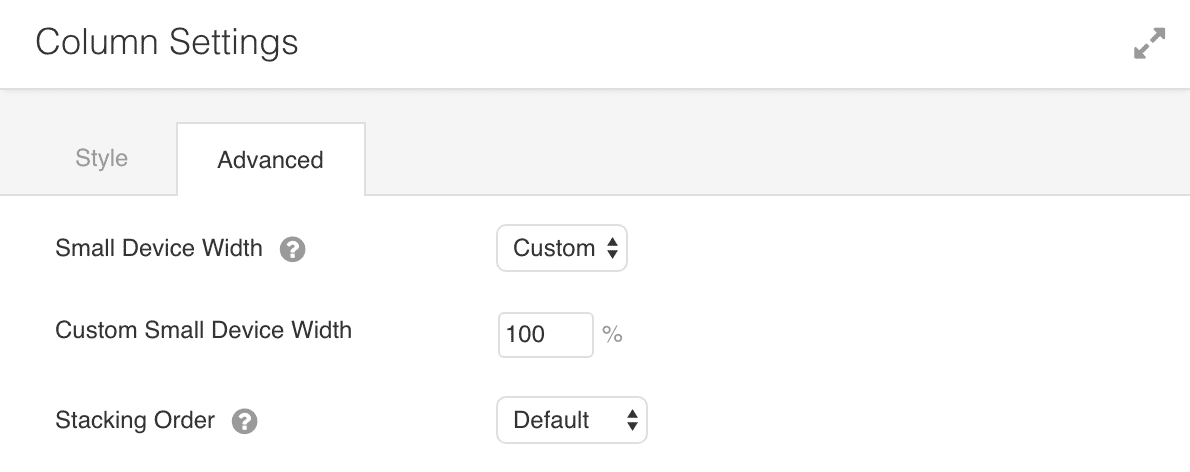 Column settings for Beaver Builder to apply a certain width when on a small device
