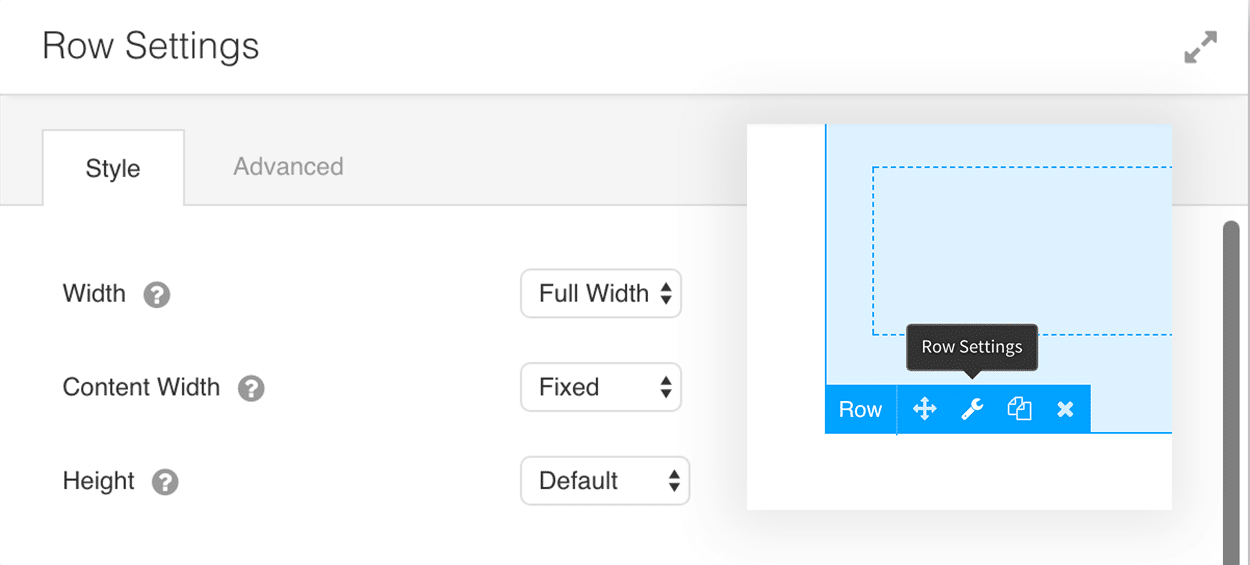 Beaver Builder settings to set the width of a row