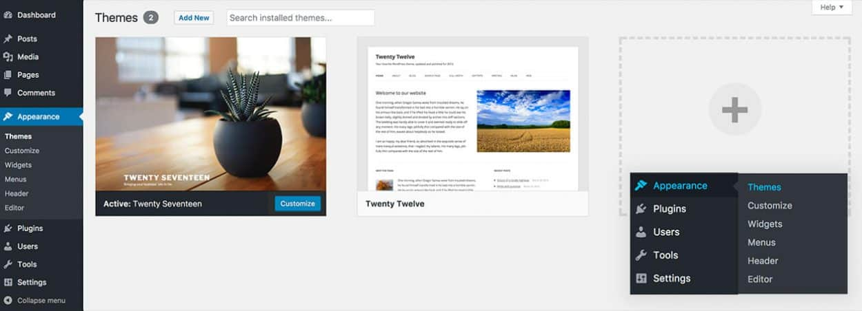 View your installed WordPress themes within your admin dashboard