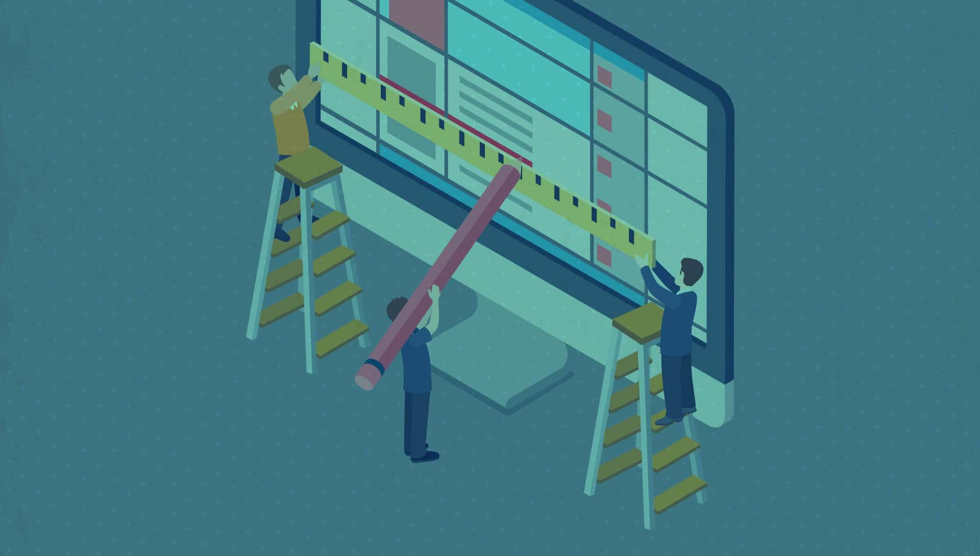 Personen die op een computerscherm aan het werken zijn aan een website