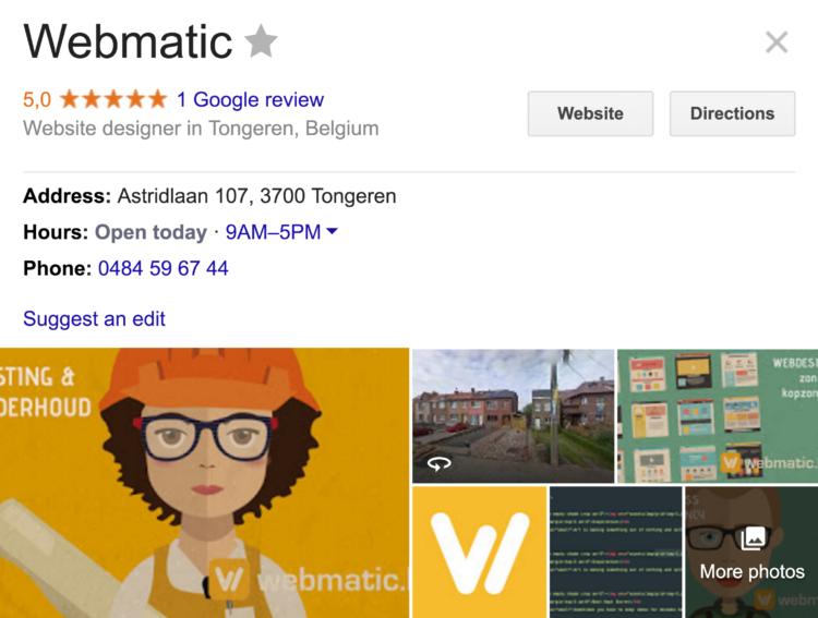 Voorbeeld van een Google zoekresultaat voor een lokaal bedrijf