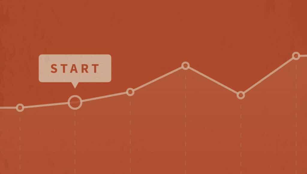 Een grafiek die het aantal bezoekers aan je website doorheen de tijd voorstelt.