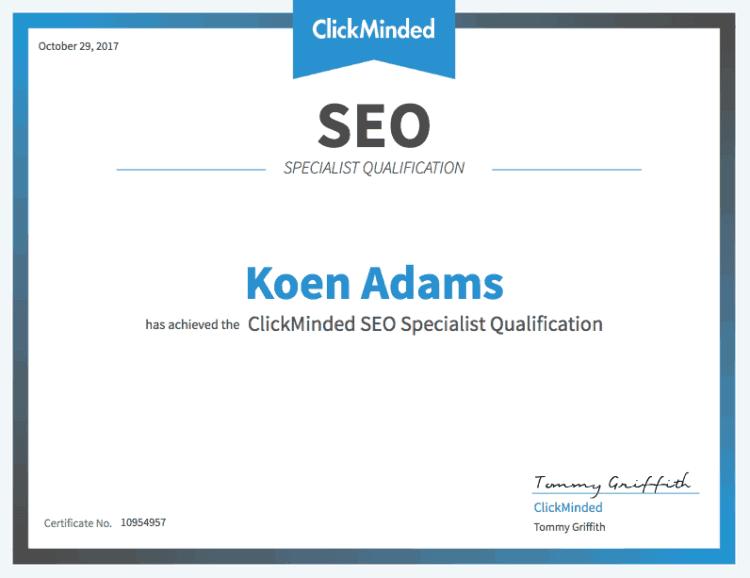 ClickMinded SEO specialist certificatie Koen Adams