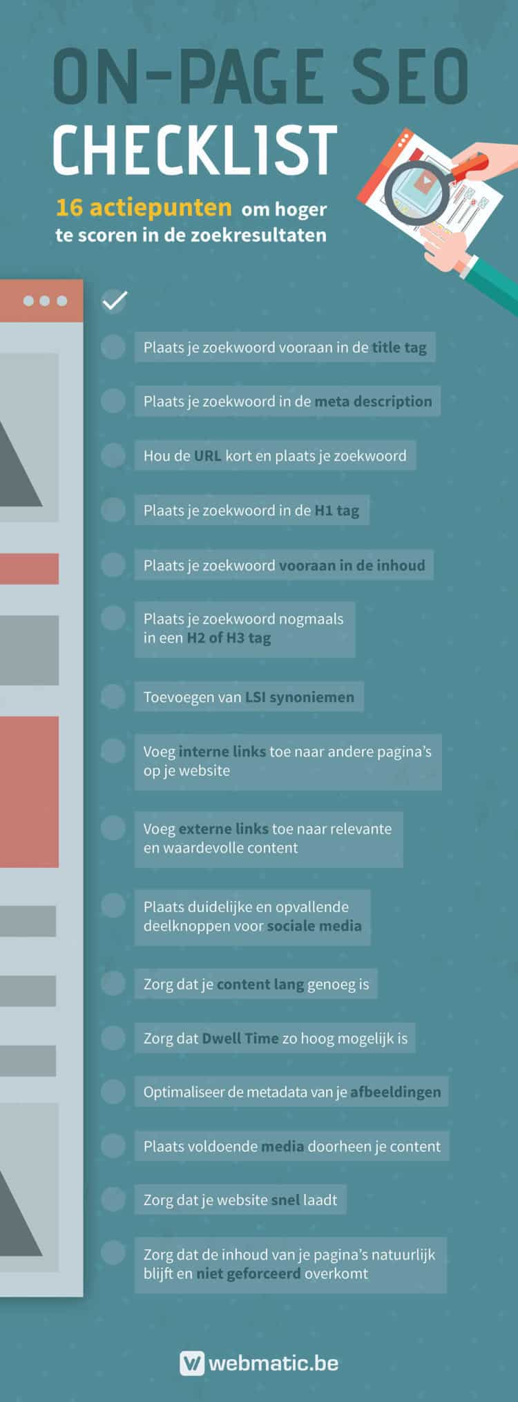 Infographic voor de On-Page SEO Checklist editie 2018