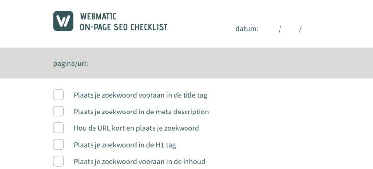 In het e-book kan je naast meer achtergrondinformatie deze On-Page SEO Checklist vinden.