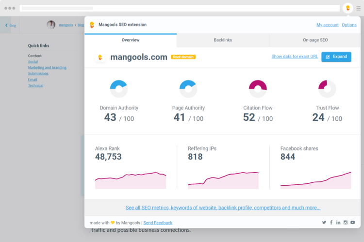 Analyze the SEO of your website with the Chrome extension of Mangools