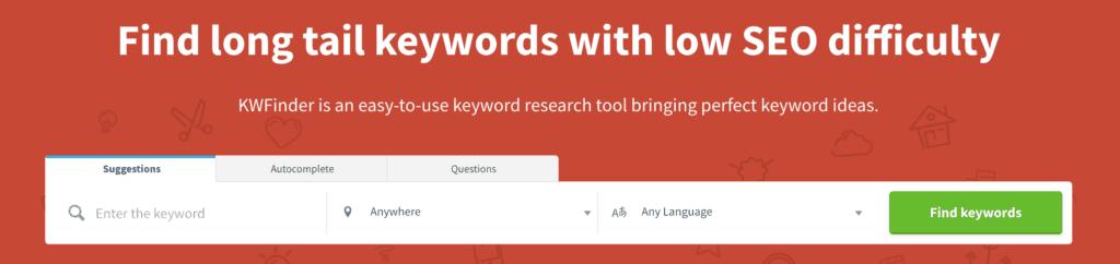KWFinder tool voor zoekwoordenonderzoek